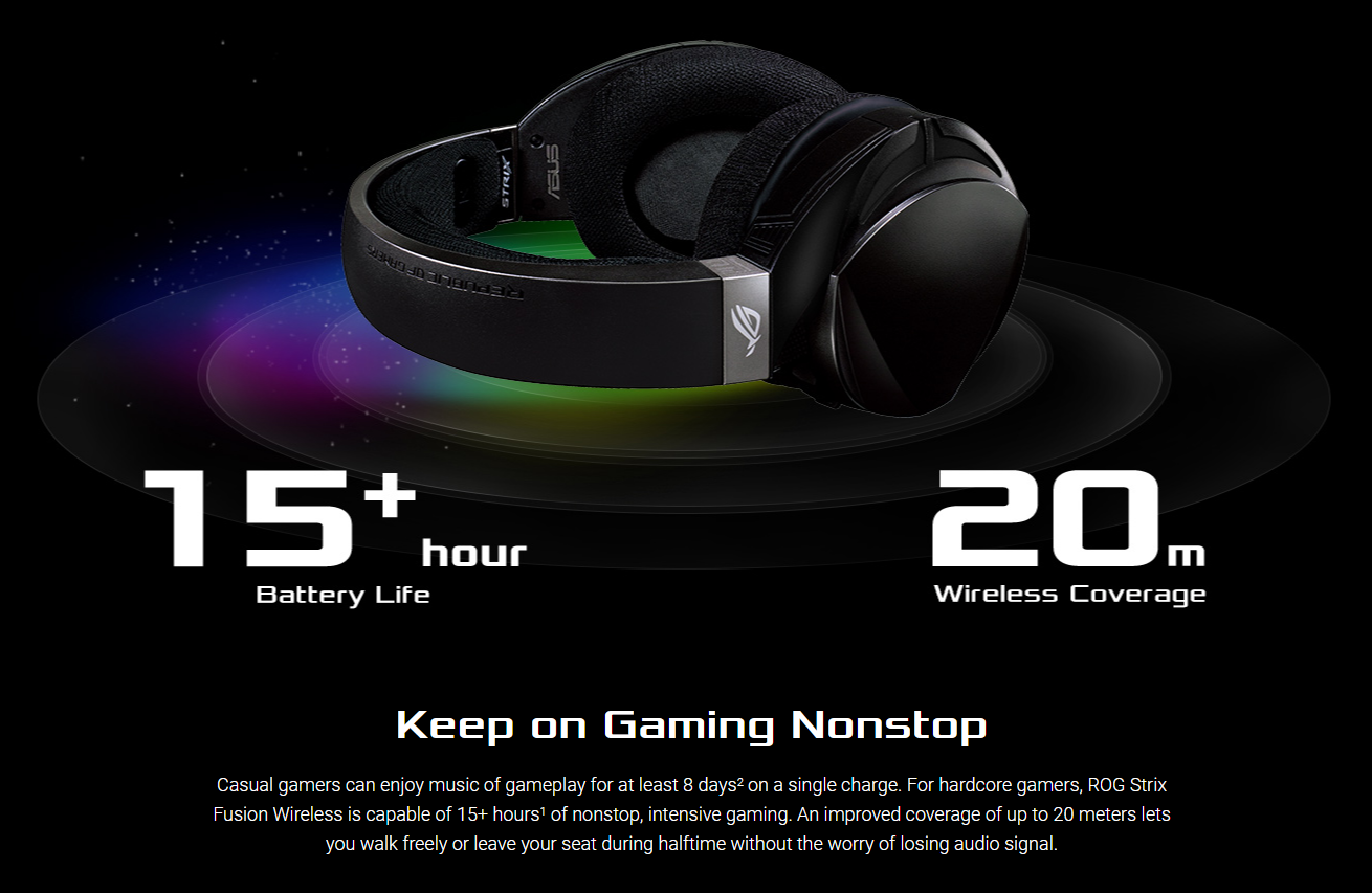 Keep on Gaming Nonstop - Casual gamers can enjoy music of gameplay for at least 8 days2 on a single charge. For hardcore gamers, ROG Strix Fusion Wireless is capable of 15+ hours1 of nonstop, intensive gaming. An improved coverage of up to 20 meters lets you walk freely or leave your seat during halftime without the worry of losing audio signal.