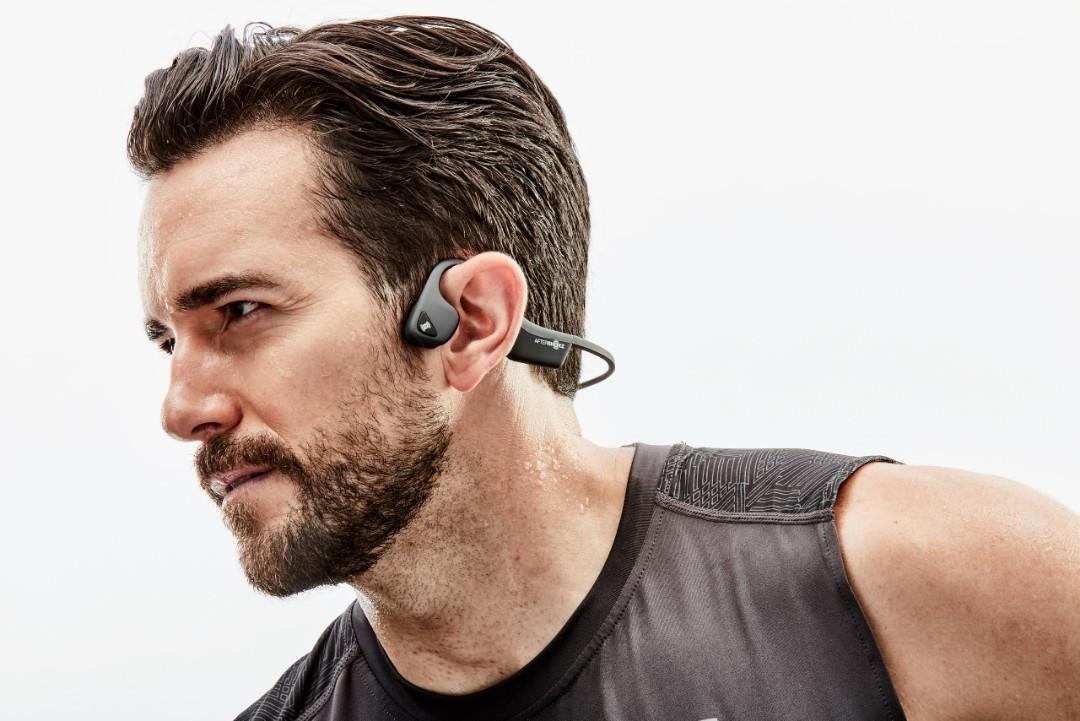 AfterShokz Air Wireless Bone Conduction Headphones - SWEATPROOF Go hard in every element. Inspired by athletes, these headphones repel sweat, dust, and moisture to help you push any limit.