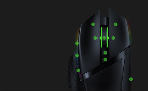 11 PROGRAMMABLE BUTTONS Have a greater arsenal of commands at your fingertips by mapping your favorite macros and secondary functions via Razer Synapse 3. Like its wired variant, the Razer Basilisk Ultimate includes the signature multi-function paddle.