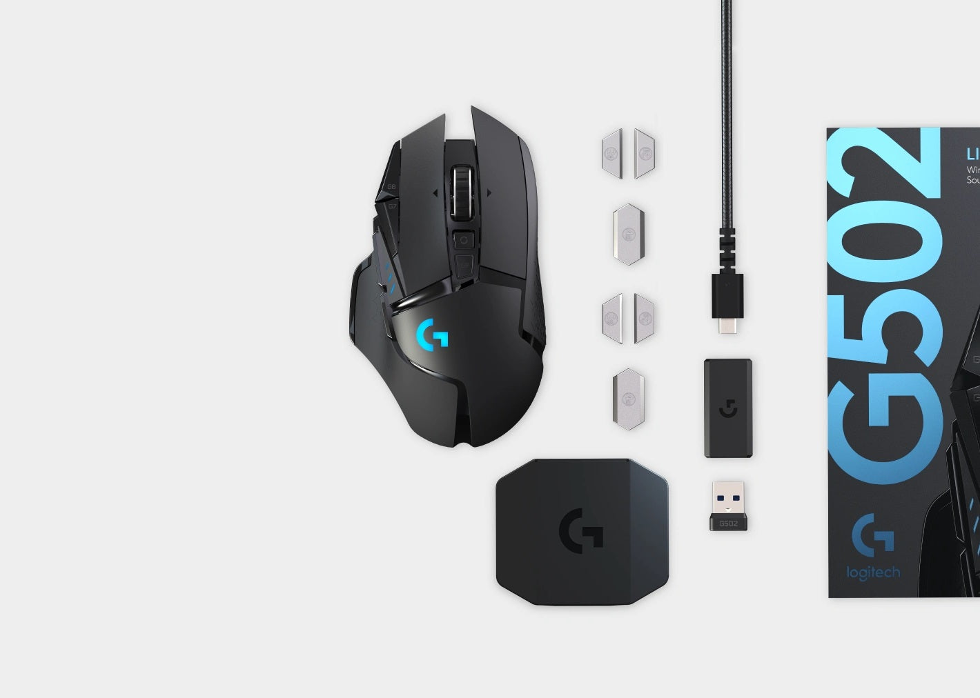 IN THE BOX you get the Gaming Mouse, LIGHTSPEED™ wireless receiver, Receiver extension adapter, Charging/data cable, Accessory box, 4x 2g Weights, 2x 4g Weights & User documentation