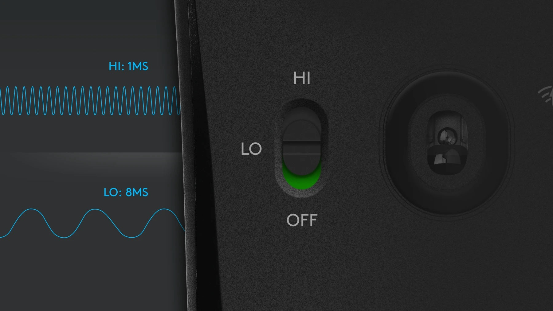 ADVANCED POWER MANAGEMENT - Quickly switch between HI and LO modes with the flick of a switch. In HI mode, G603 delivers peak performance with LIGHTSPEED 1ms report rate and up to 500 hours of non-stop gaming. When not gaming, simply switch to LO mode and extend battery life. LO mode reports at 8 ms for up to 18 months of use with 2 AA batteries.