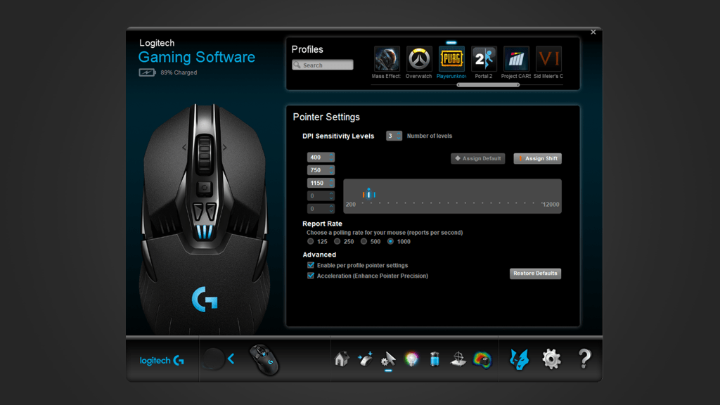DPI SETTINGS - Add even more skill to your game with quick DPI shifting from low to high sensitivity. Use the thumb button to transition between headshot-precise 200 DPI targeting to lightning-fast 12,000 DPI maneuvers. Also, with DPI cycling, you can move through up to five DPI settings with a click. Program your DPI with Logitech G HUB or use the default settings that work great out-of-the-box.