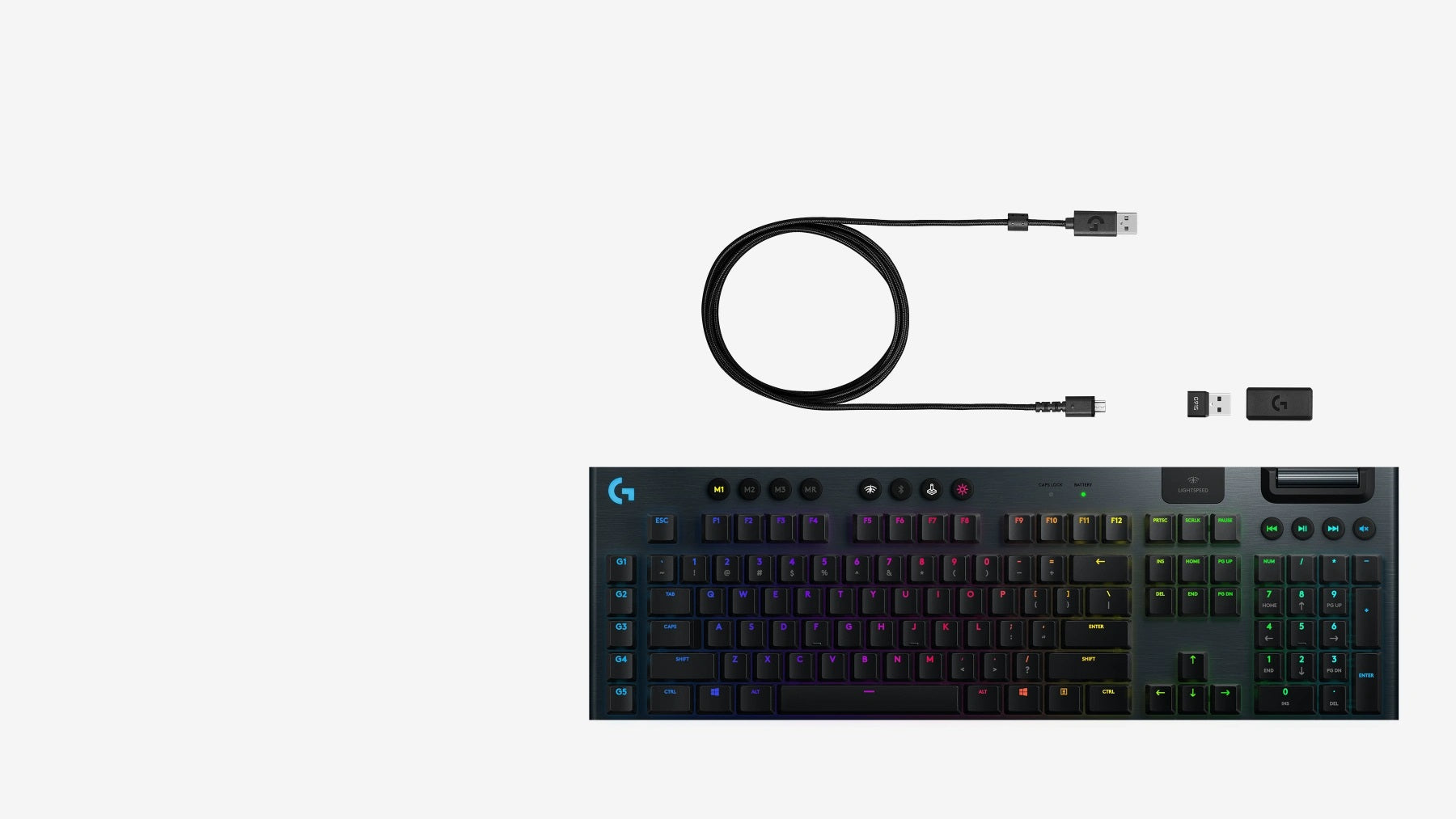 IN THE BOX you get the G915 LIGHTSPEED wireless mechanical keyboard, LIGHTSPEED USB receiver, USB extender, Micro-USB cable & User documentation.