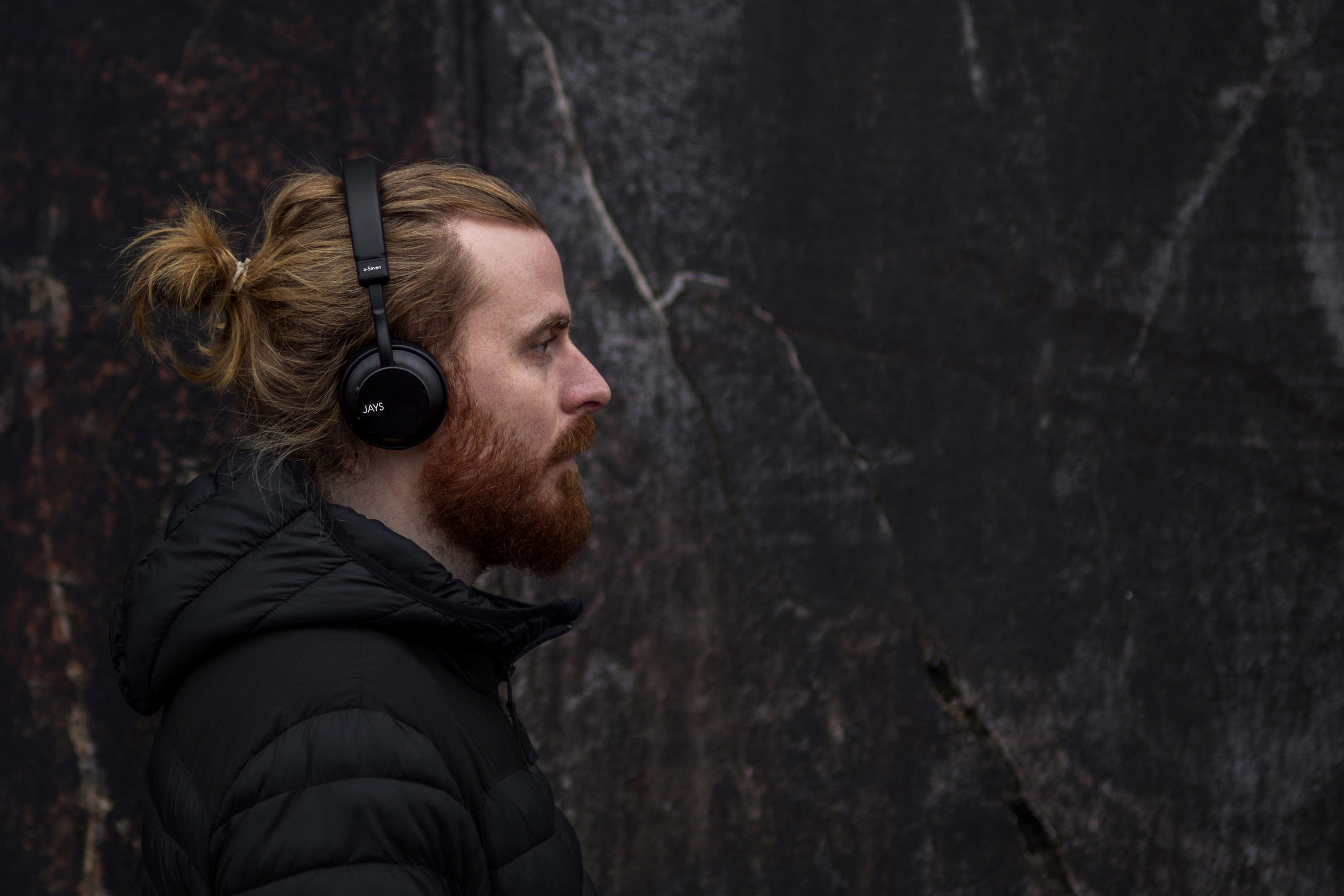 JAYS a-Seven Wireless Headphones Lifestyle worn by male model
