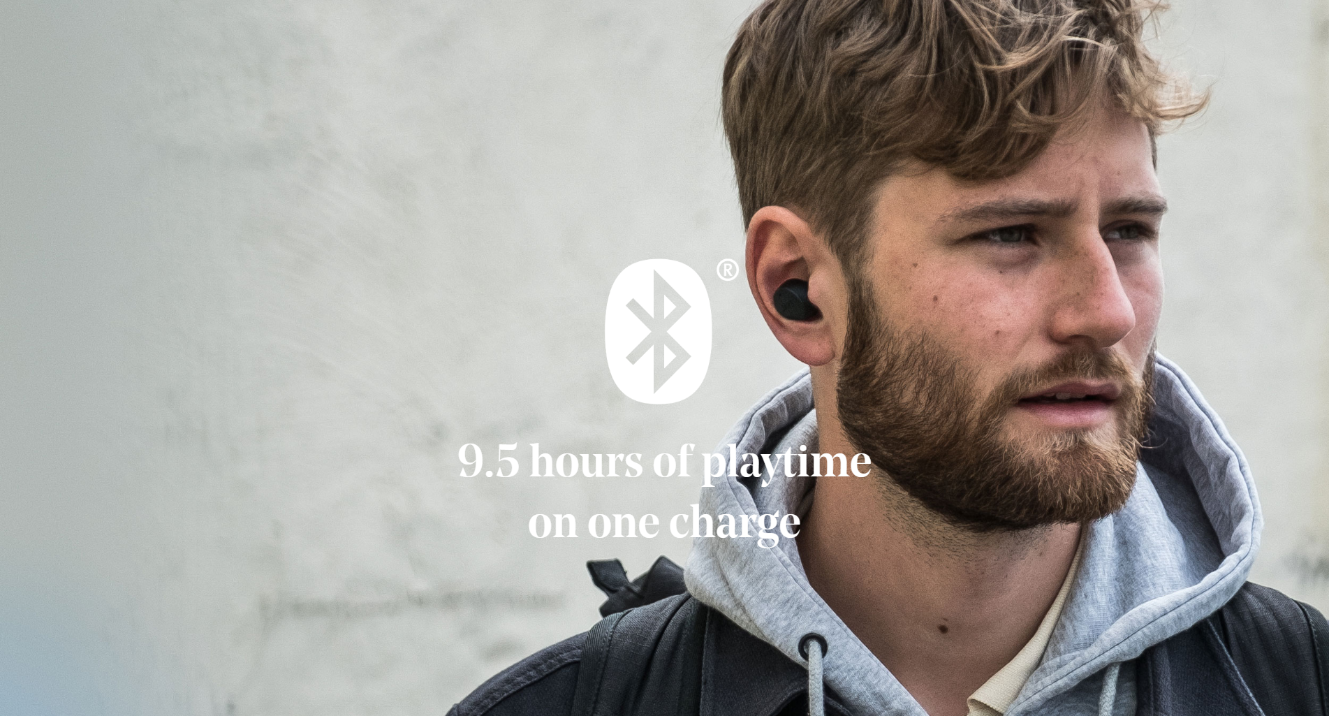 Jays m-Seven True Wireless Earbuds with 9.5 hours of playtime on one charge.