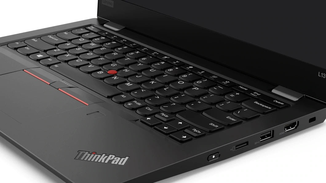 Lenovo ThinkPad L13 laptop open 90 degrees, showing keyboard and display.