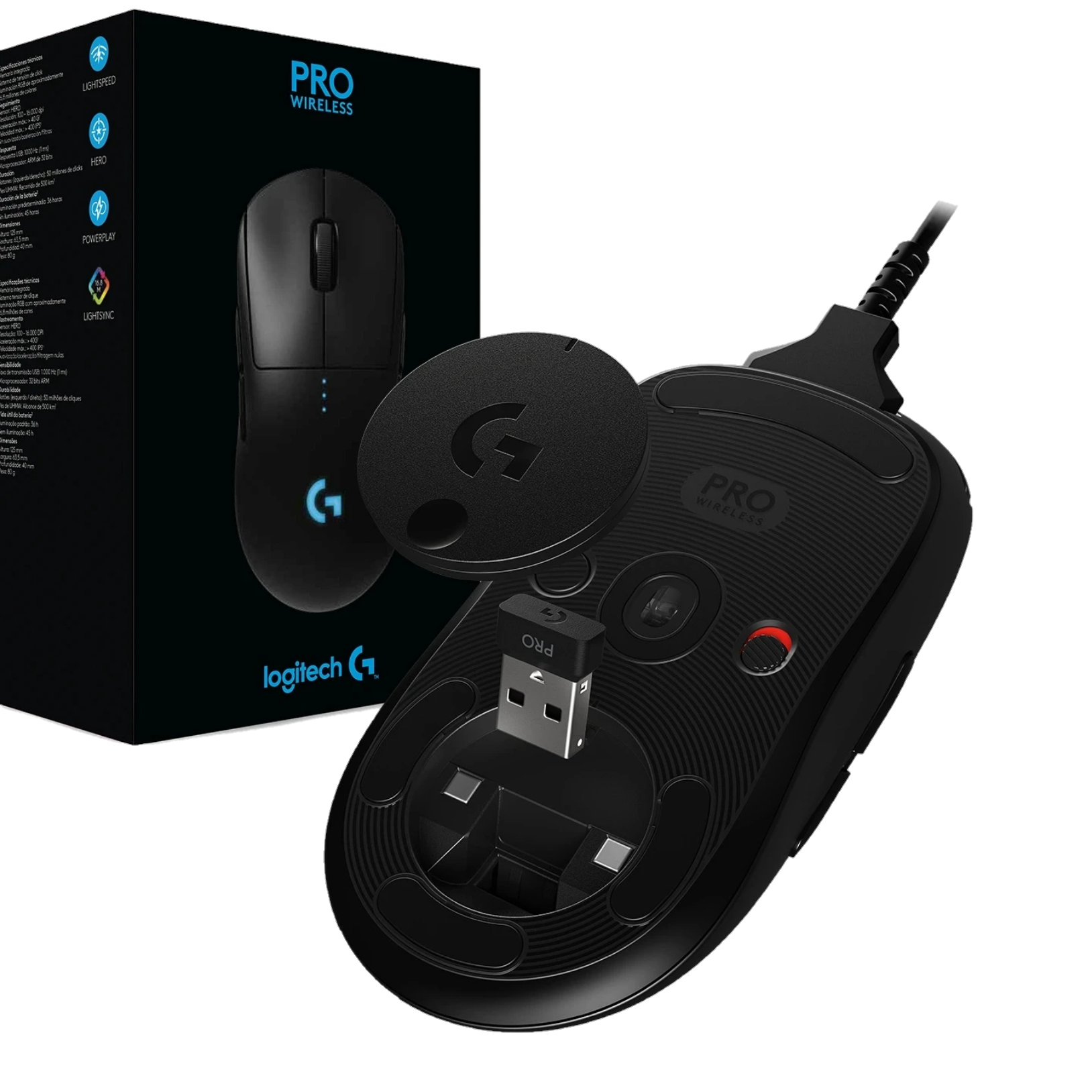 Logitech G Pro Wireless Gaming Mouse Box Contents