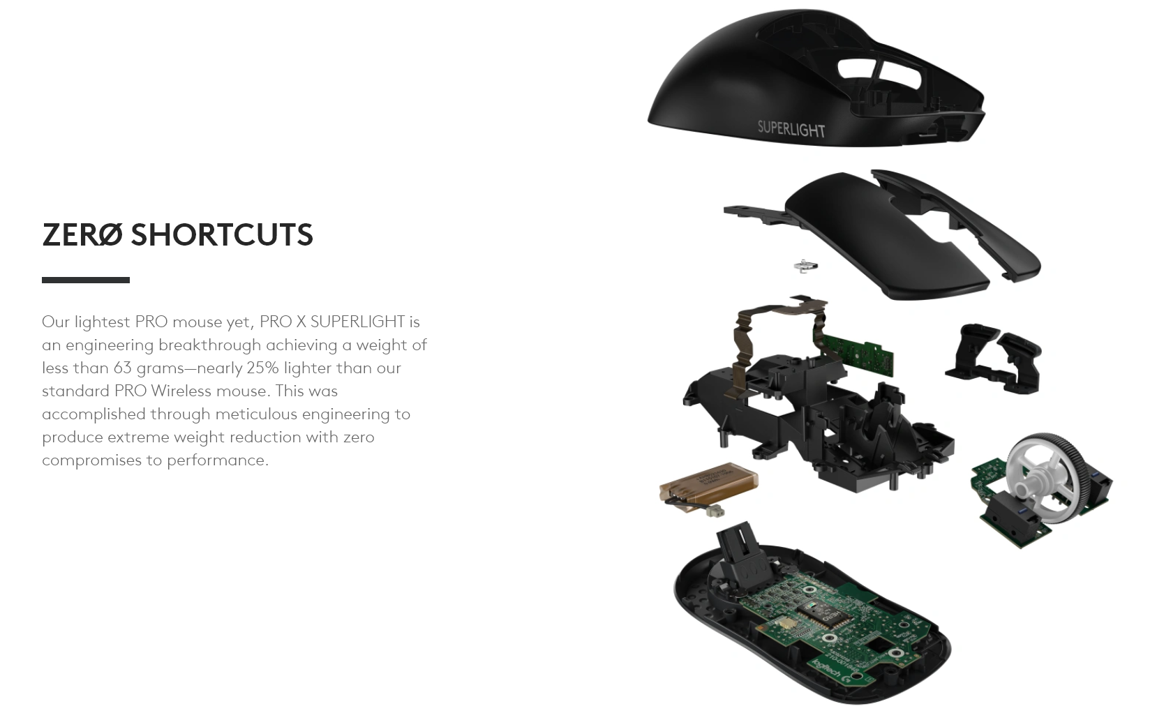 Our lightest PRO mouse yet, PRO X SUPERLIGHT is an engineering breakthrough achieving a weight of less than 63 grams—nearly 25% lighter than our standard PRO Wireless mouse. This was accomplished through meticulous engineering to produce extreme weight reduction with zero compromises to performance.