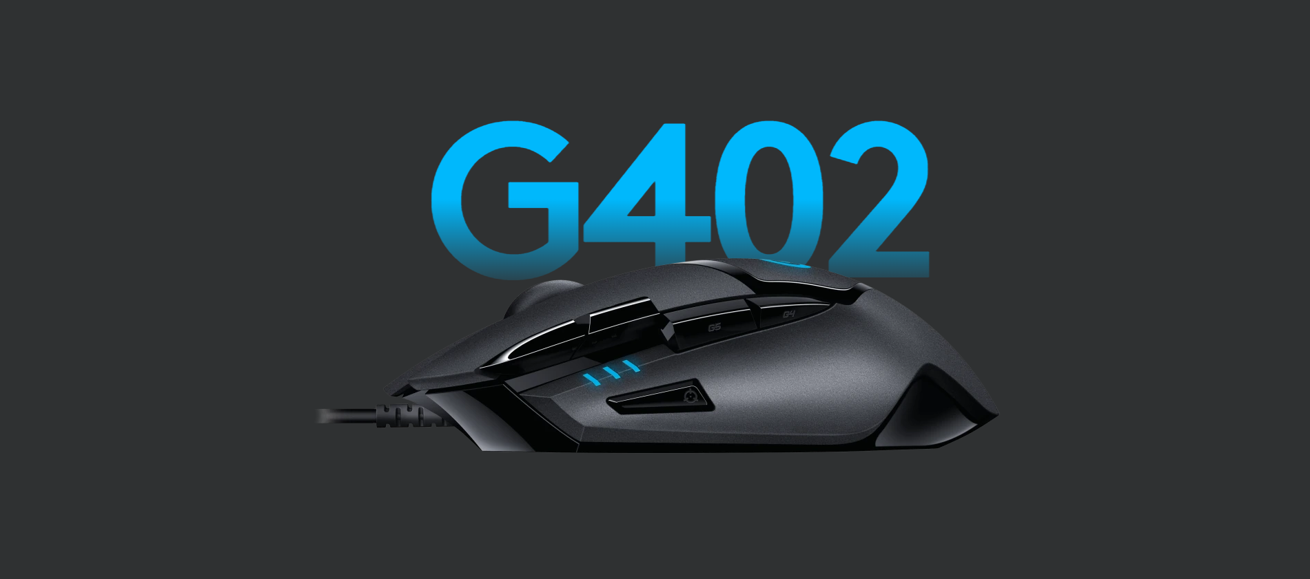 Logitech G402 Hyperion Fury FPS Gaming Mouse Side View Banner
