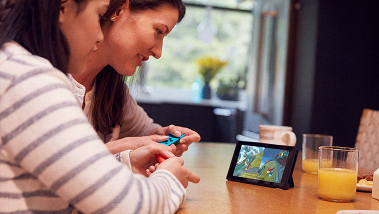 Tabletop mode - Flip the stand to share the screen, then share the fun with a multiplayer game.