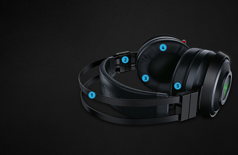 COMPLEMENTED BY COMFORT The Razer Nari Ultimate is designed so that its immersive technology is complemented by comfortable features, letting you escape into game worlds for hours without strain.