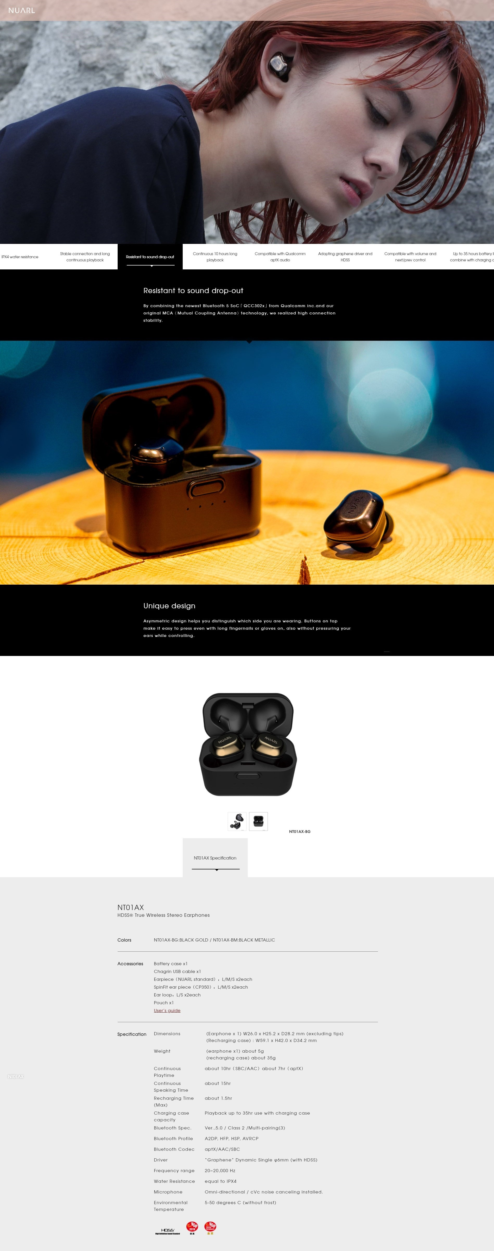 NUARL NT01A True Wireless Earbuds Main Features