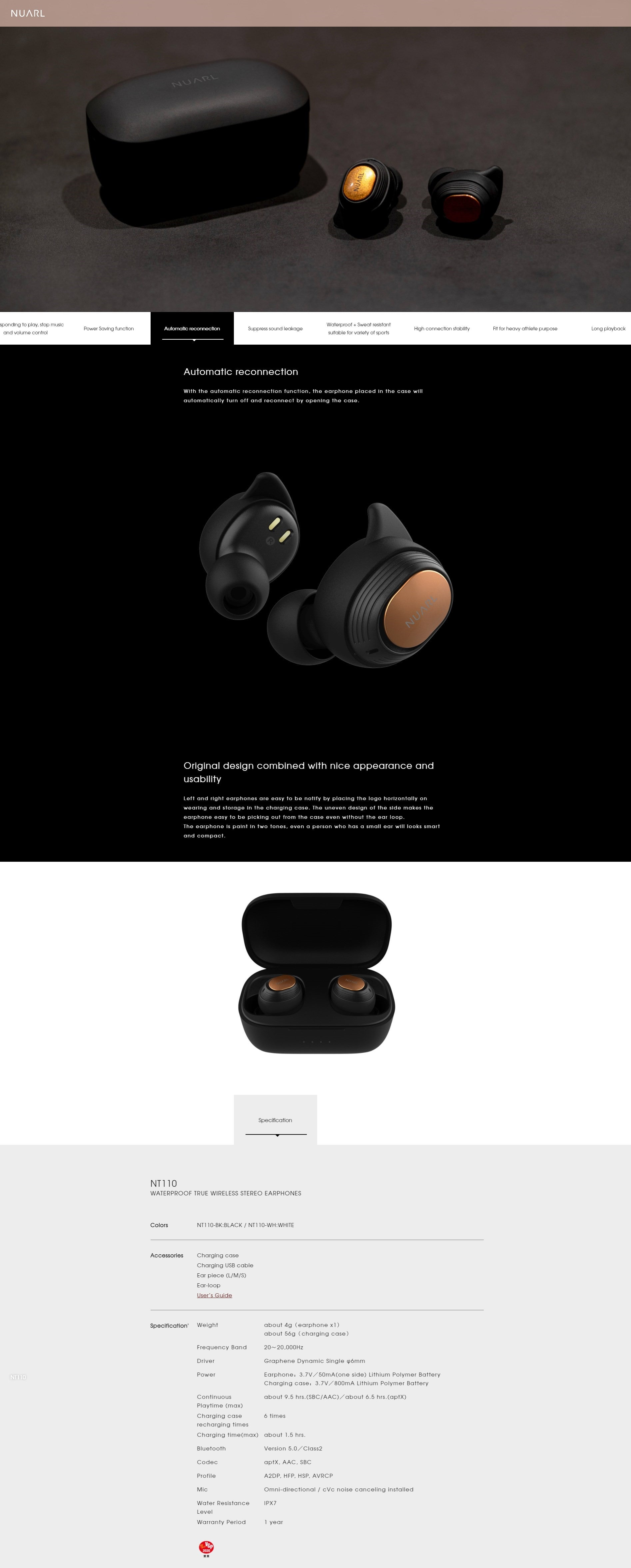NUARL NT110 True Wireless Earbuds Main Features