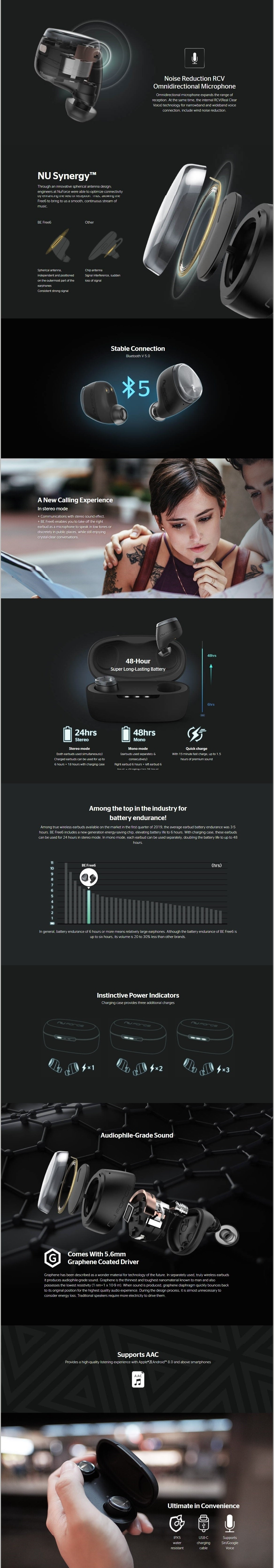 NuForce BE Free6 True Wireless Earbuds Main Features 2