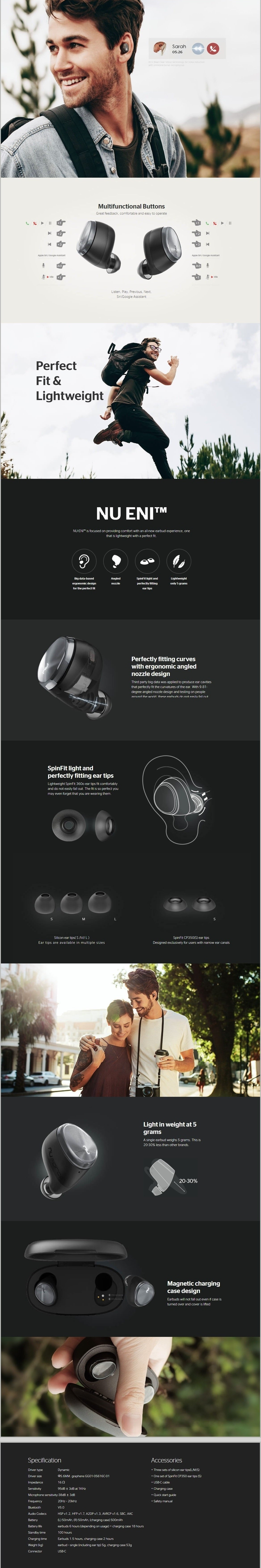 NuForce BE Free6 True Wireless Earbuds Main Features 3