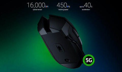 RAZER™ 5G ADVANCED OPTICAL SENSOR. Engineered with 99.4% tracking accuracy and up to 16,000 DPI, the sensor in this wireless mouse offers the precision and speed you need to stay at the top of the leaderboard.