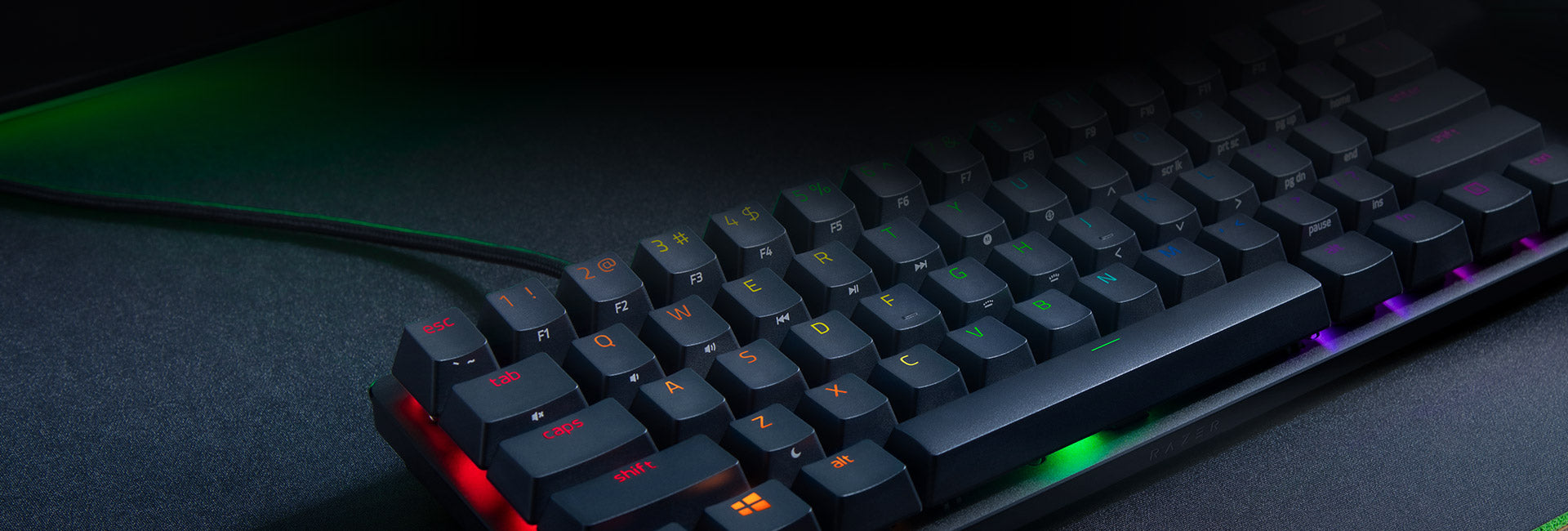 DOUBLESHOT PBT KEYCAPS WITH SIDE-PRINTED SECONDARY FUNCTIONS - Designed for greater durability, the keycaps on this 60% gaming keyboard have a premium, textured quality that'll never degrade to a shiny finish or have their labelling wear off with intense use. For easier reference when executing commands and hotkeys, side-printed secondary functions have also been added.