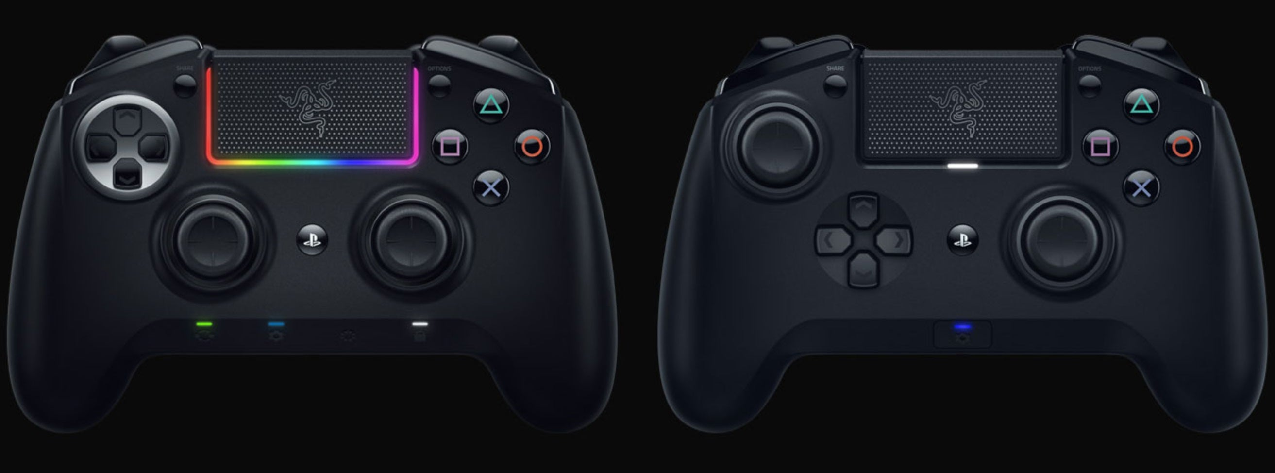 Remap button functions or enable Hair-Trigger mode on the Razer Raiju Tournament Edition, or take it up a notch with the Razer Raiju Ultimate and do everything from swapping thumbsticks, customizing Razer Chroma™, and accessing functions on the fly.