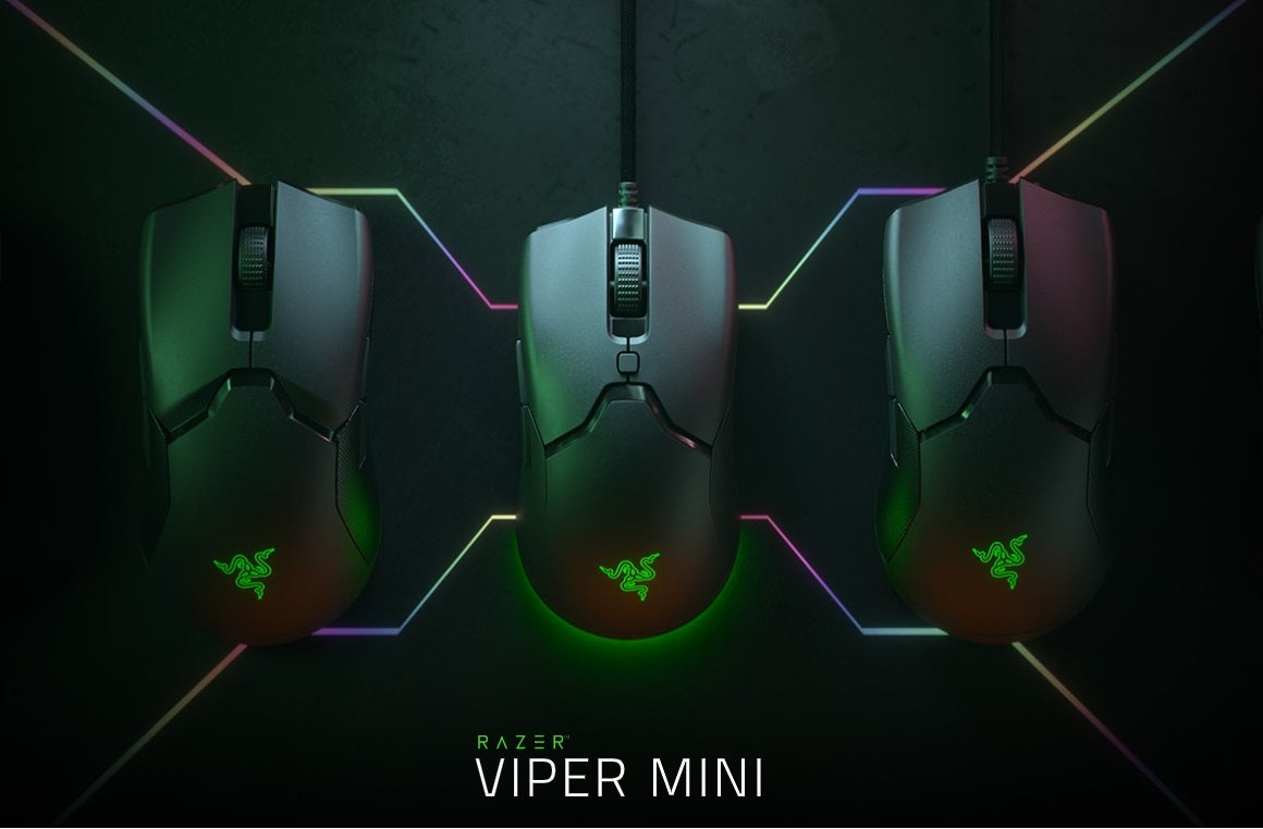 ULTRA-LIGHT. ULTRA-FAST. Born to push the very limits of ultra-lightweight gaming, the Razer Viper Mini takes up a smaller form that remains just as big in performance. Shortening its length and grip width, we've worked with enthusiasts and esports athletes to hone its design even further, ensuring that absolute control now belongs in the hands of more gamers—so take hold of our leanest and lightest gaming mouse yet.