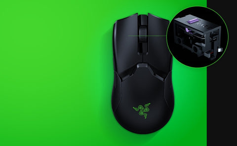 RAZER™ OPTICAL MOUSE SWITCH Utilizing an infrared light beam to register every click, the switches in this wireless mouse actuate with an industry-leading response time of 0.2 milliseconds. Because it no longer requires traditional physical contact, this form of actuation removes the need for debounce delay and never triggers unintended clicks, giving you closer control and flawless execution.