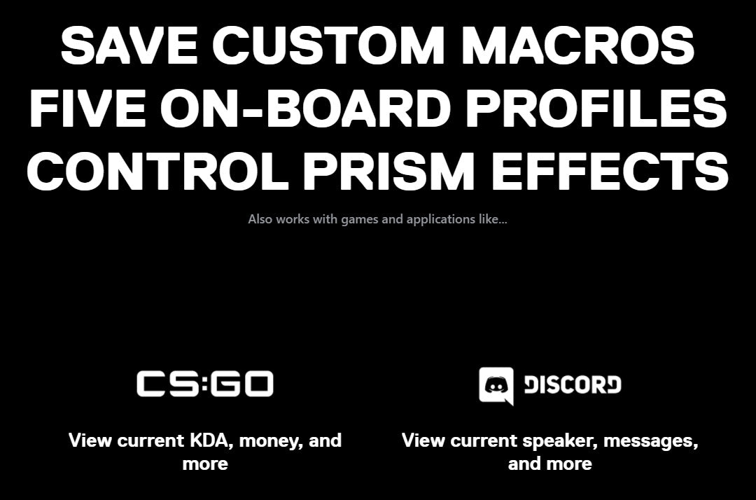 SAVE CUSTOM MACROS, FIVE ON-BOARD PROFILES, CONTROL PRISM EFFECTS