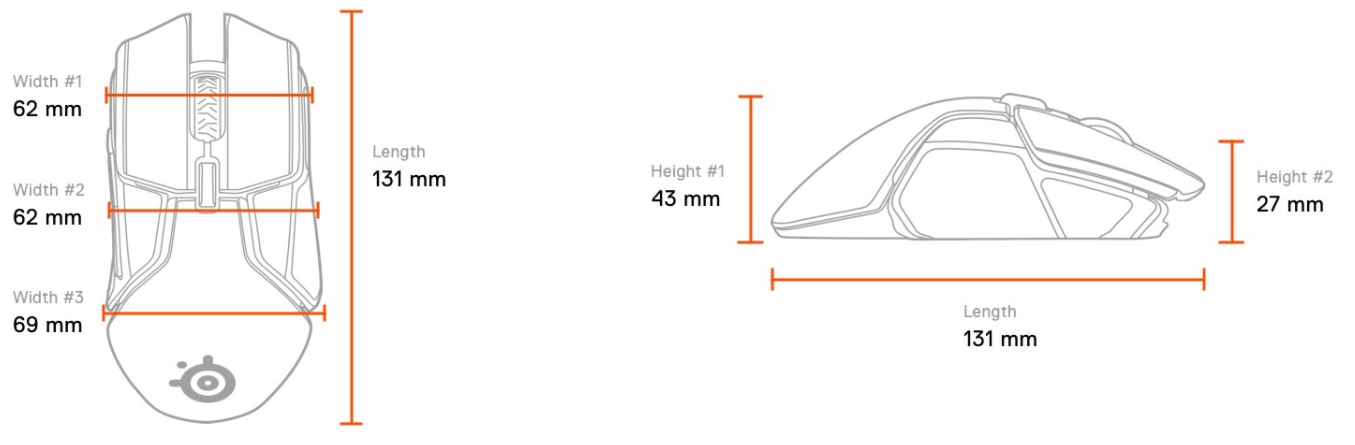 SteelSeries Rival 650 Wireless RGB Gaming Mouse Dimensions