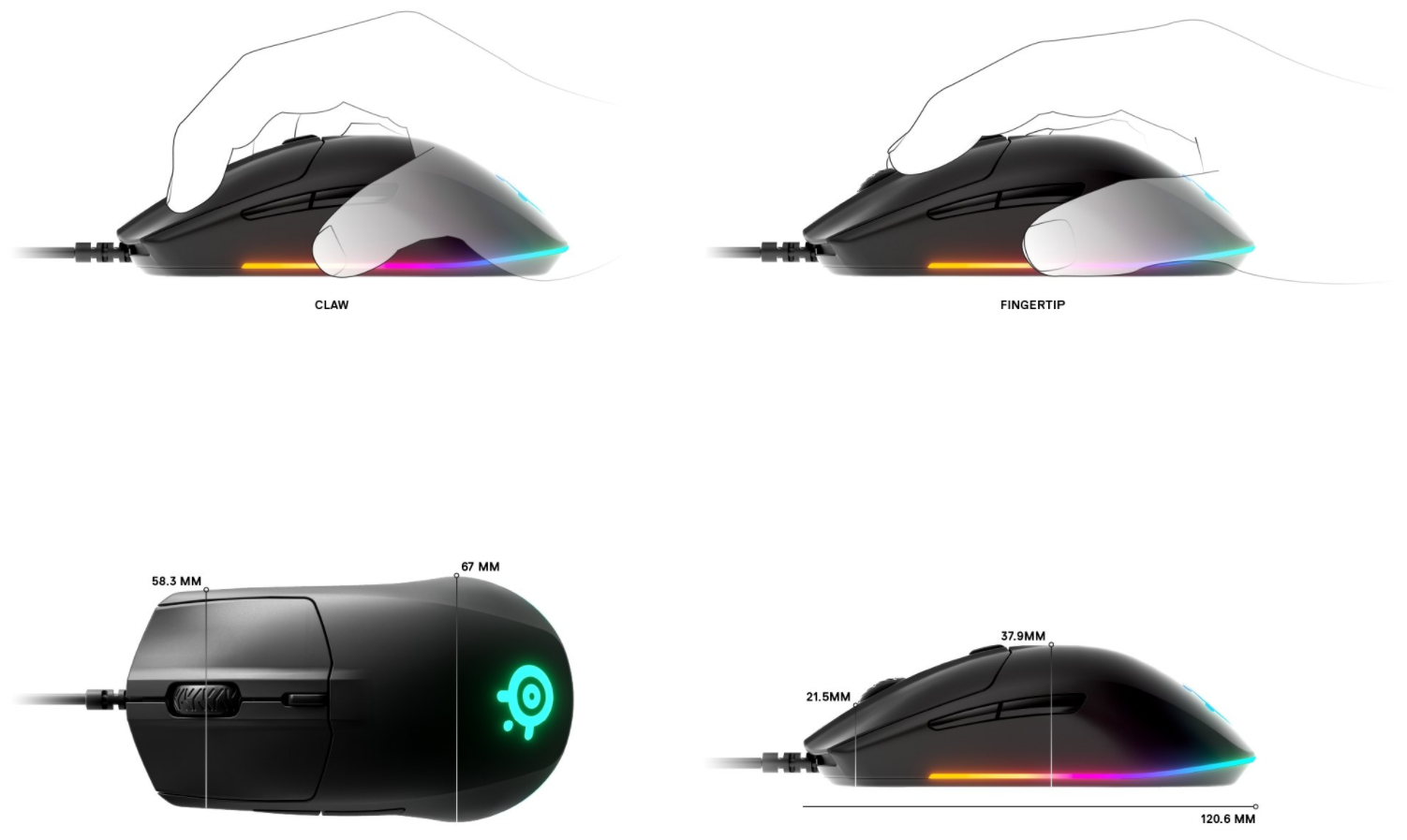 Recommended Grip Styles - The right-handed shape of the Rival 3 is designed for a player's highest demand for comfort. Whether you deploy a claw or fingertip grip the shape will provide perfect comfort for long and intense gaming sessions.