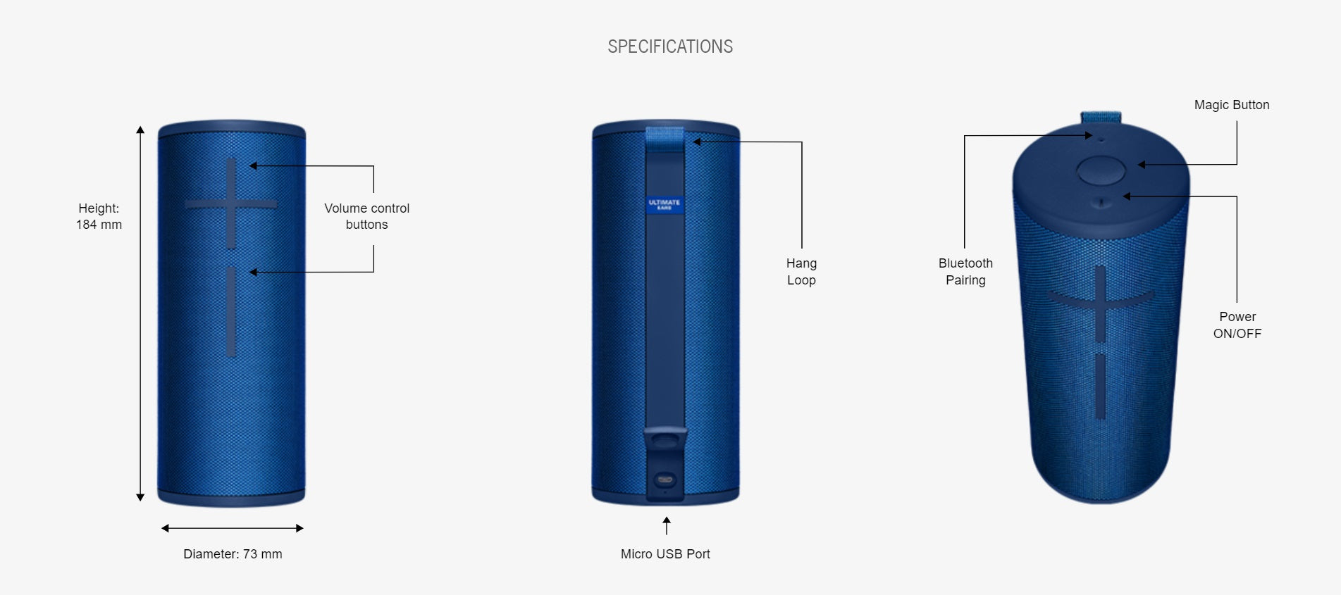 SPECIFICATIONS For Ultimate Ears Boom 3 Wireless Speakers