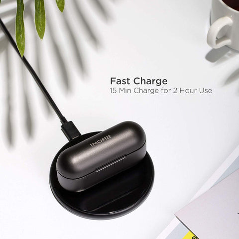 Wired and wireless charging for the 1More ANC Earbuds