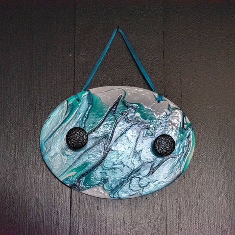 Acrylic Pour Painted Mask Hanger