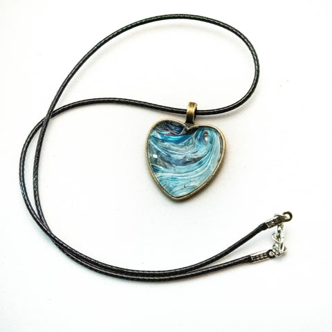 Heart Shaped Painted Pendant with Cord