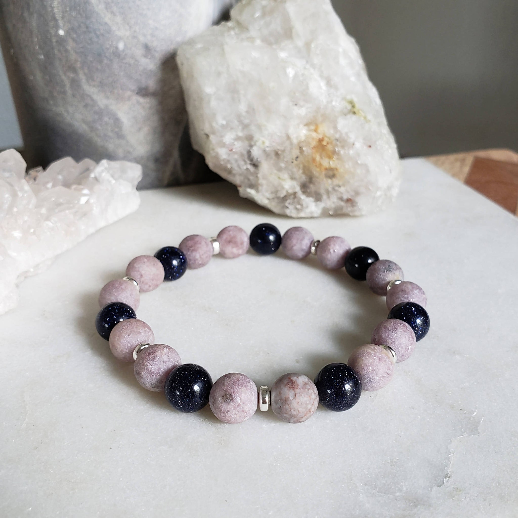 Lepidolite and blue goldstone bracelet