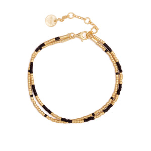 Black and gold 2x Seed Bead Armbånd - Forgylt sølv