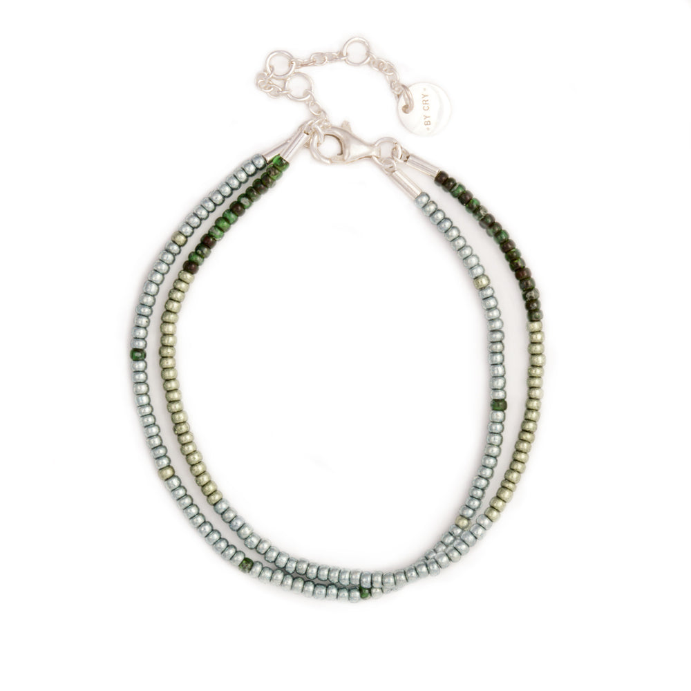 Metallic green & dark green 2x Seed Bead Armbånd - Sterling sølv