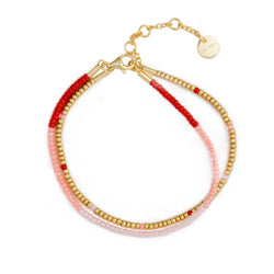 Red, peach and rose 2x Seed Bead Armbånd - Forgylt sølv