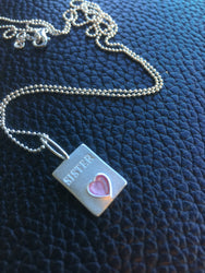 Sister necklace Sterling silver purple heart