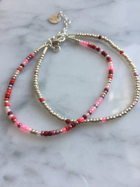 Mixed burgunder, rose & red 2x Seed Bead Armbånd - Sterling sølv