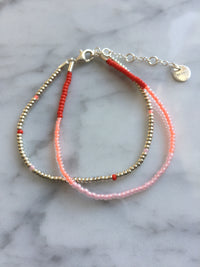Red, peach and rose 2x Seed Bead Armbånd - Sterling sølv
