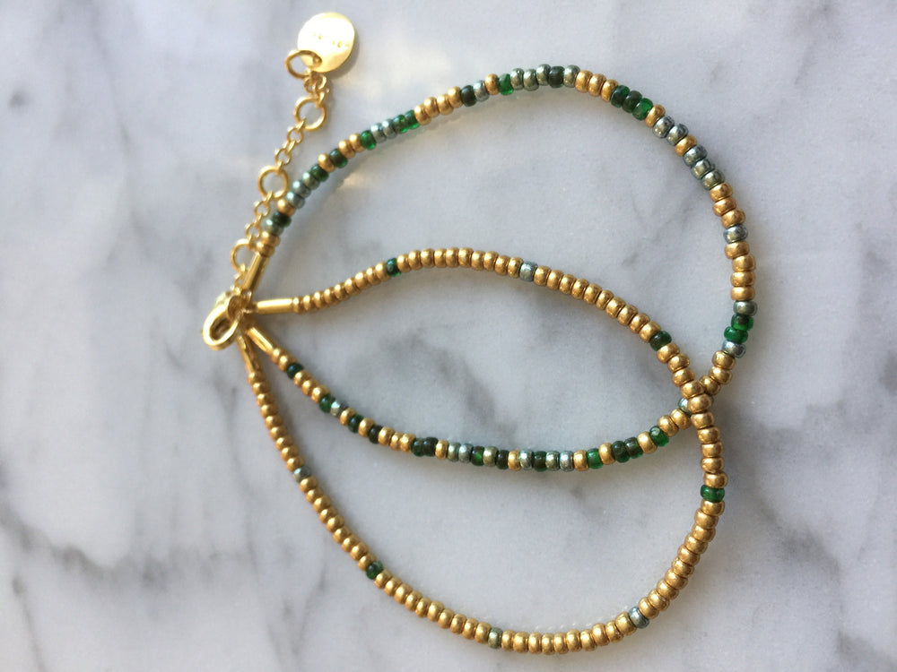 Mixed green & gold 2x Seed Bead Armbånd - Forgylt sølv