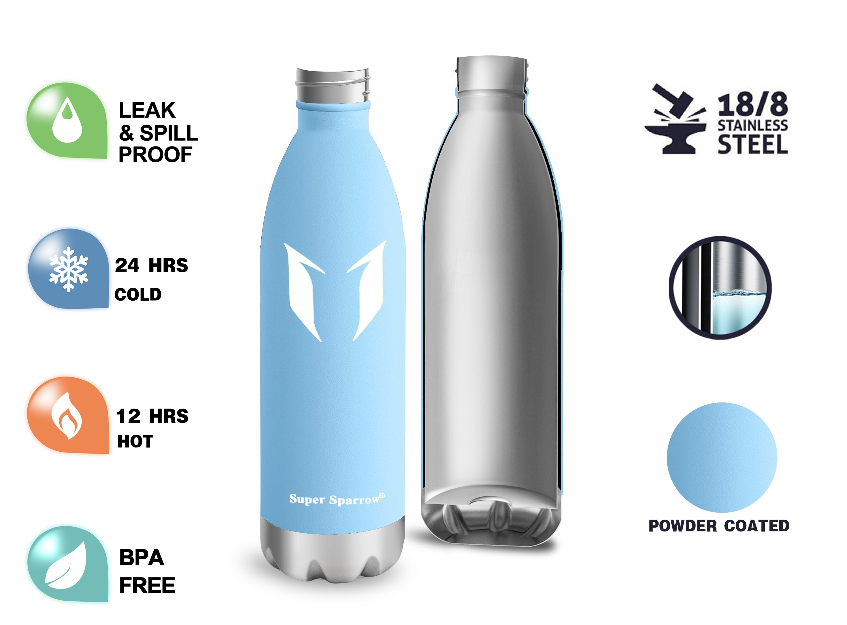Vacuum Insulated Water Bottles, 500ML / 17OZ
