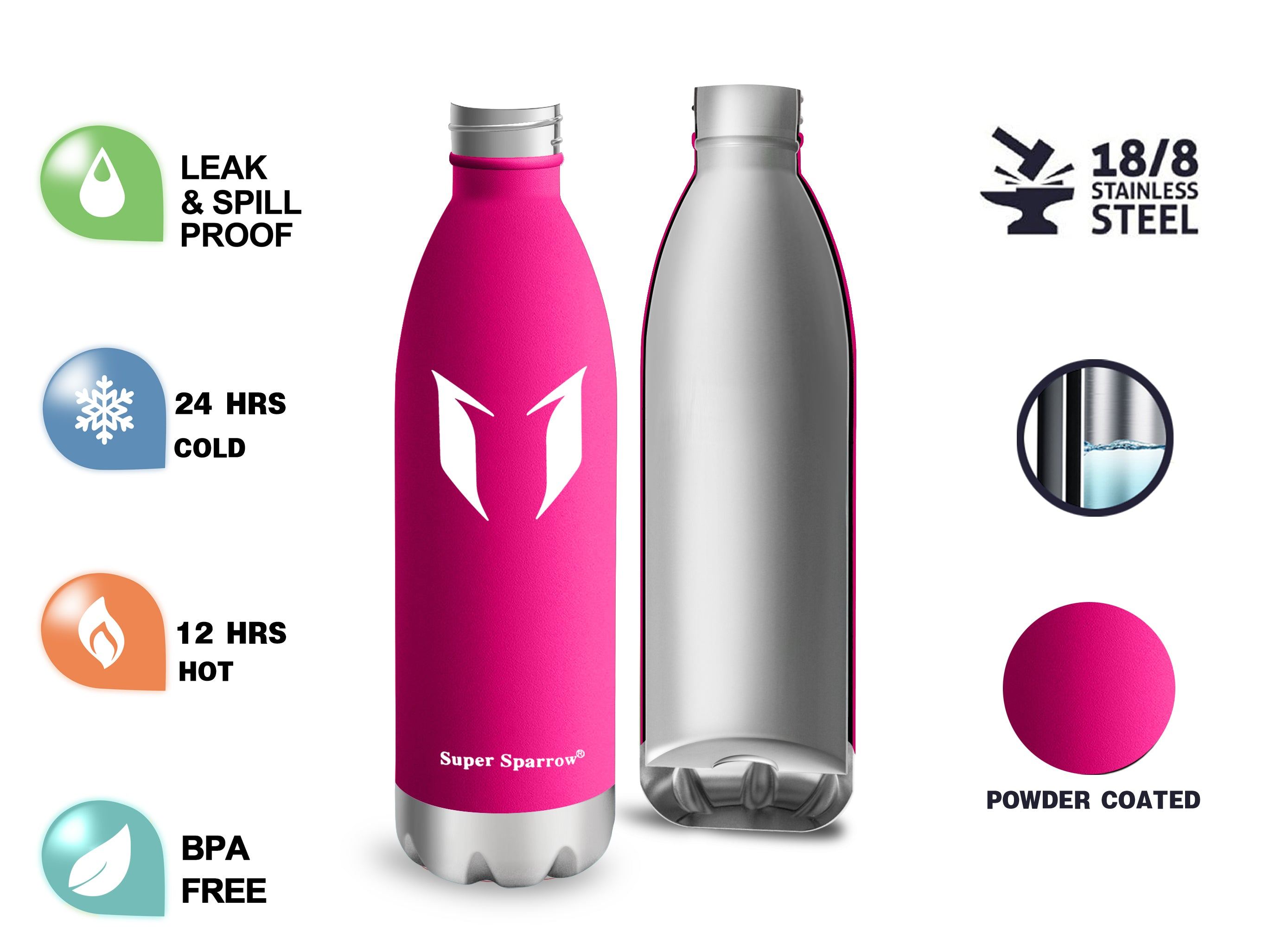 Vacuum Insulated Water Bottles, 350ML / 12OZ
