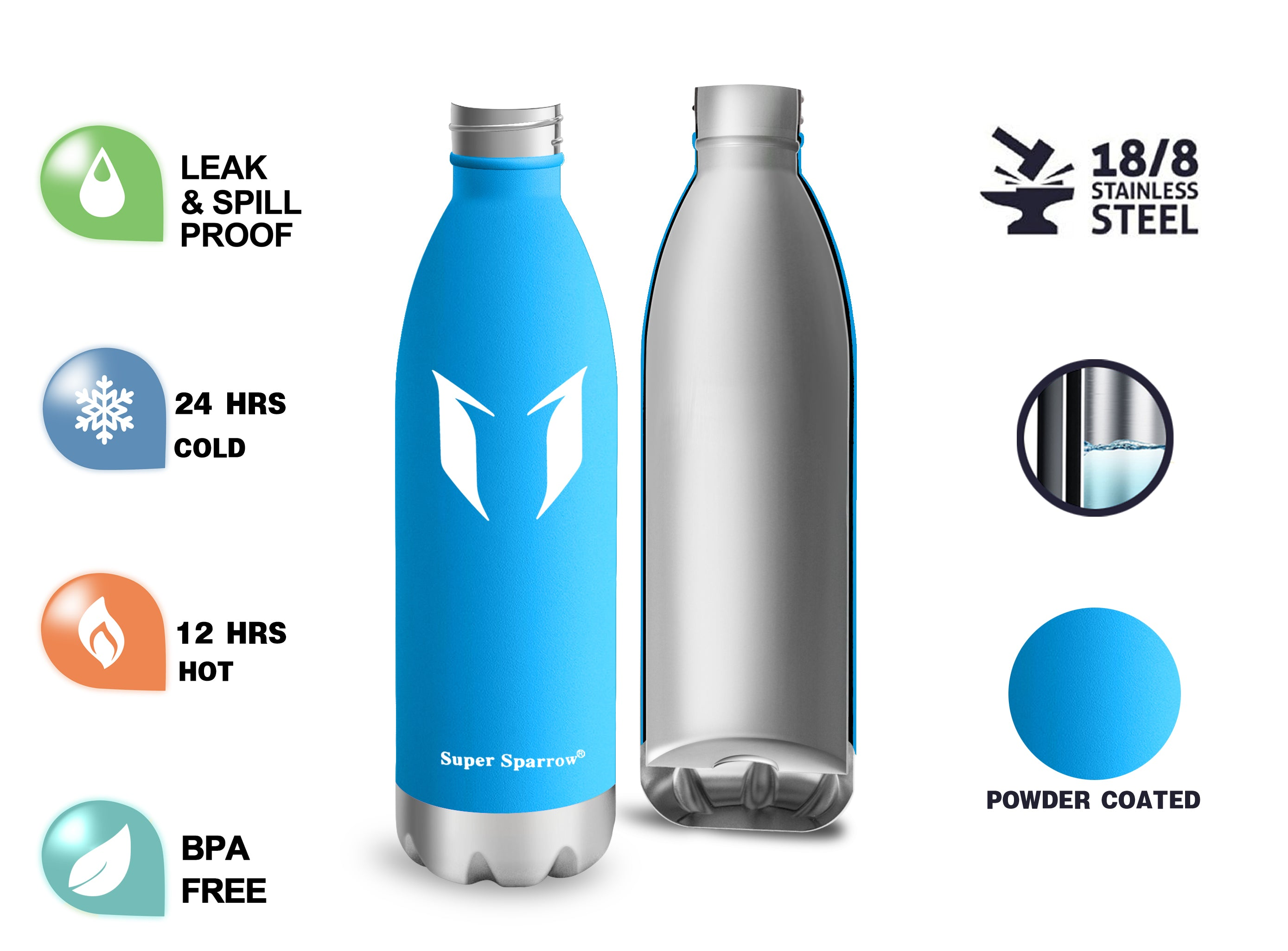 Vacuum Insulated Water Bottles, 750ML / 25OZ