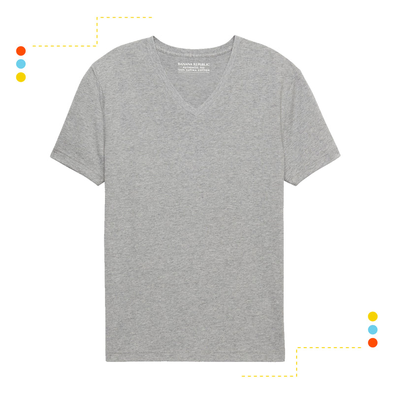 Remera Básica Manga Corta V Grey Heather