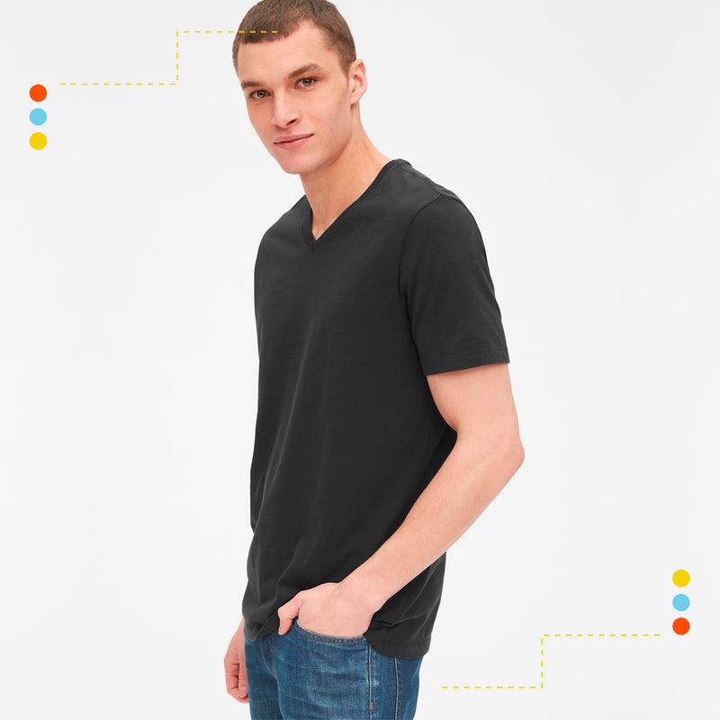 Remera Basica V Neck True Black