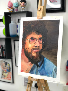 Bob Ross portrait in Oils by Kevin McNulty - 7th Circle Store - Painting - 7th Circle Tattoo & Piercing