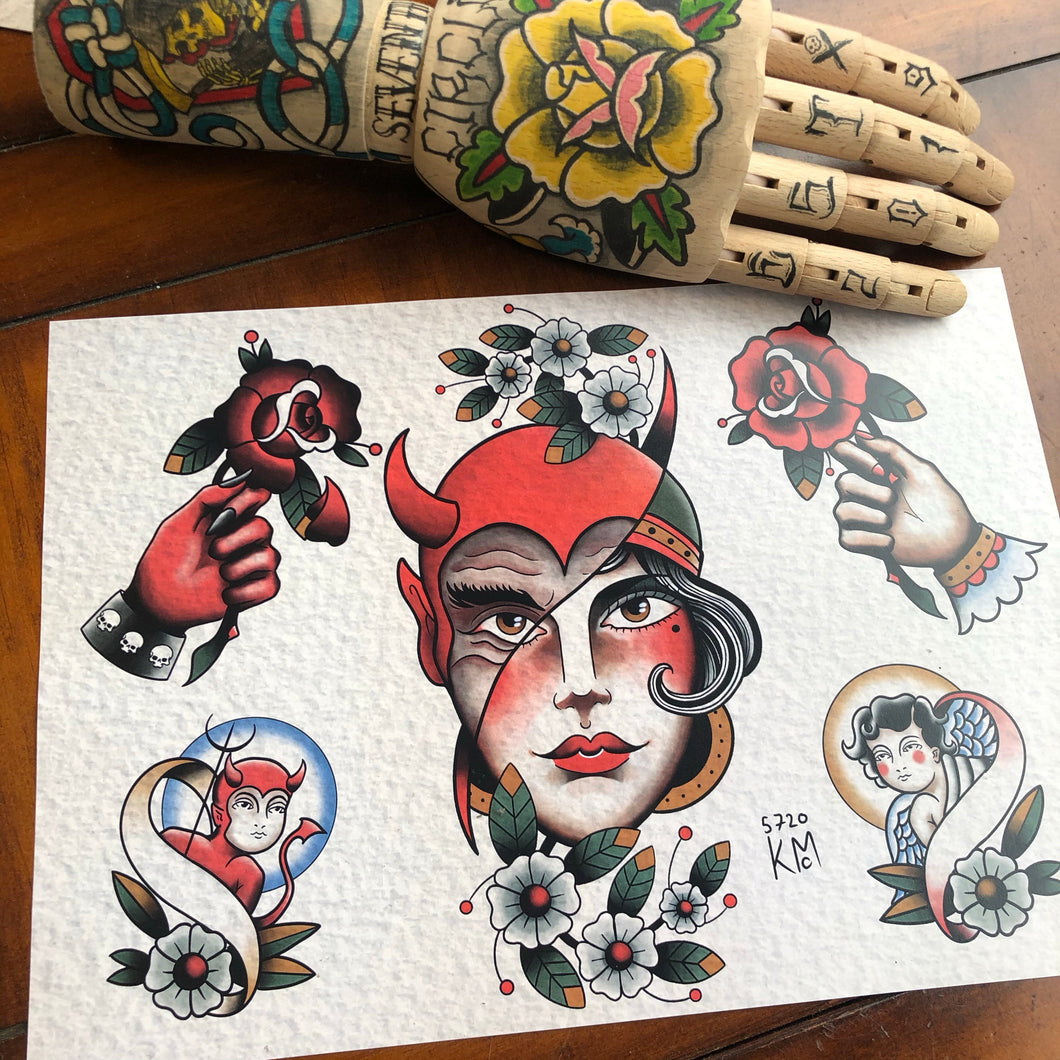 Devil/lady split tattoo flash A4 Print by Kevin McNulty - 7th Circle Store - Art Print - 7th Circle Store