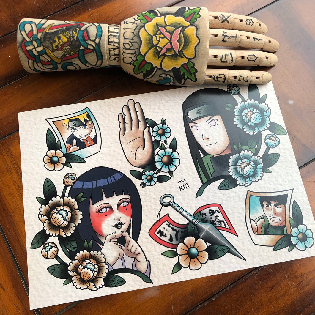 Traditional style anime tattoo flash A4 Print by Kevin McNulty - 7th Circle Store - Art Print - 7th Circle Store