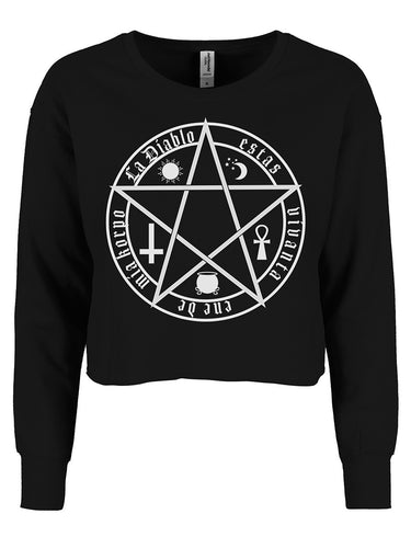 THE DEVIL IS LIVING IN MY FLESH BLACK GIRLIE CROPPED SWEAT - 7th Circle Store - Ladies Clothing - Grindstore Originals