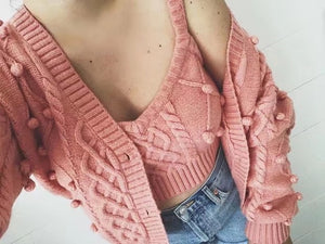 1 set Autumn Korea Style Vintage Knitting 3D Ball Cardigan Single-breasted Button Tank Top Long Sleeve Sweater Jumper