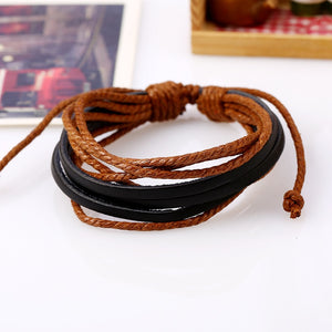 15 Color Leather Cotton Rope Adjustable Multilayer Wristband Bracelets Men Women Hand-Woven Braided Rope Clothing Bangles